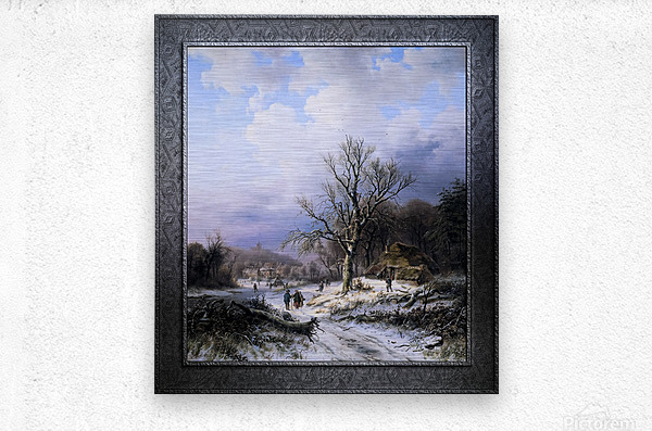 Snow Landscape by Alexander Joseph Daiwaille Classical Art Xzendor7 Old Masters Reproductions  Metal print