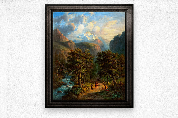 Landscape In The High Mountains by Alexander Joseph Daiwaille Classical Fine Art Xzendor7 Old Masters Reproductions  Metal print