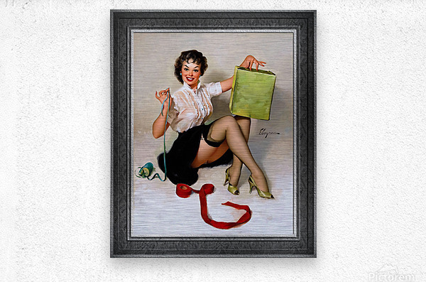 Neat Package by Gil Elvgren Vintage Pinup Illustration Xzendor7 Old Masters Reproductions  Metal print