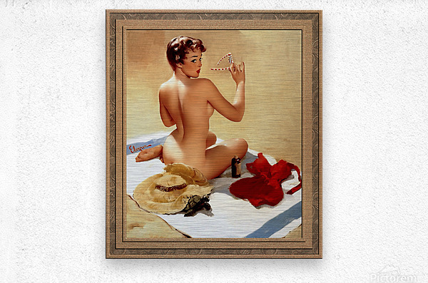 Shell Game c1959 by Gil Elvgren Vintage Pinup Illustration Xzendor7 Old Masters Reproductions  Metal print