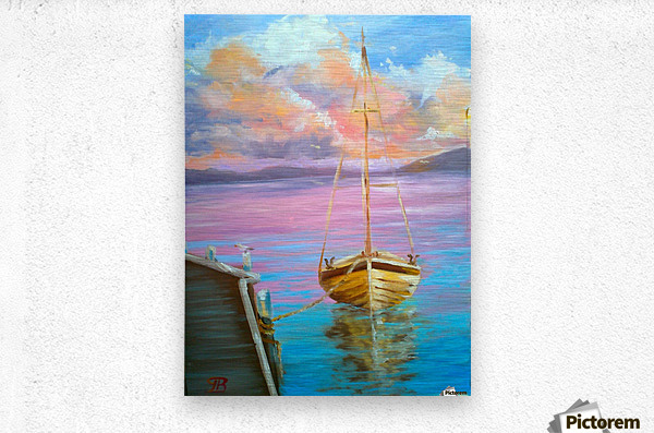 tranquility floating boat patiently waiting for new adventure.  Metal print