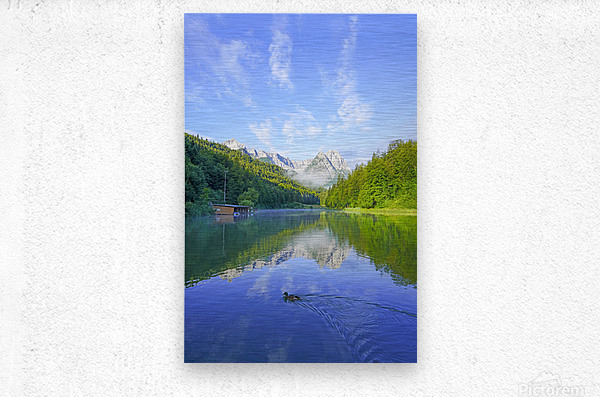 Blue Skies over the Riessersee in the Bavarian Alps near Garmisch Germany  Metal print