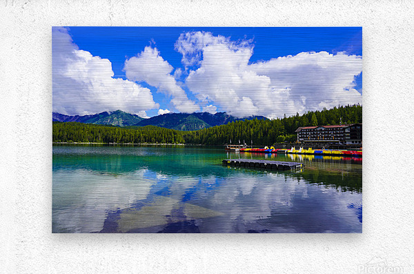 Brilliant Blue Skies over Lake Eibsee with Friederalm and Enningalm of the southern Ammergauer Alps in the Background  Metal print