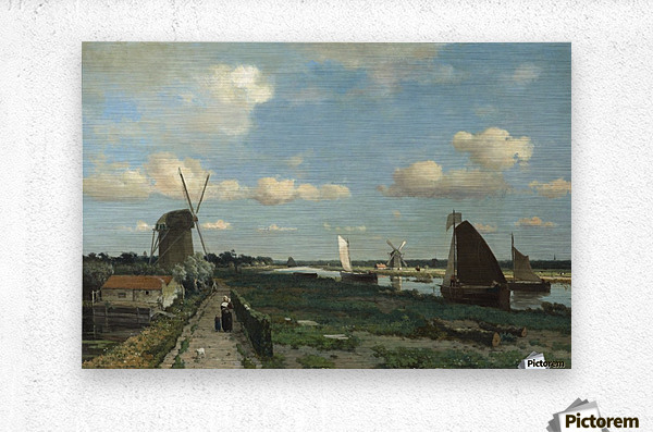 Dutch landscape with mill and figures  Metal print