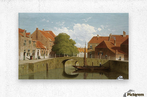 Along the canal in a Dutch town  Metal print