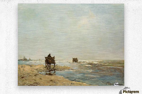 Sunny landscape with lake and figures  Metal print