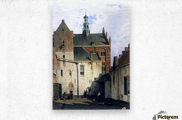 Culemborg, view at the westerly facade of the town hall at Wagenweg  Metal print