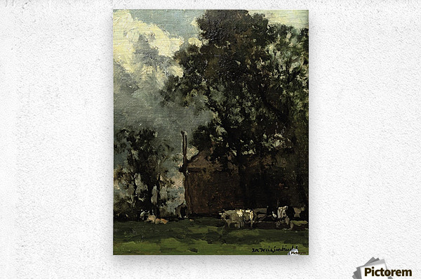 Cows in a Sunny Landscape  Metal print