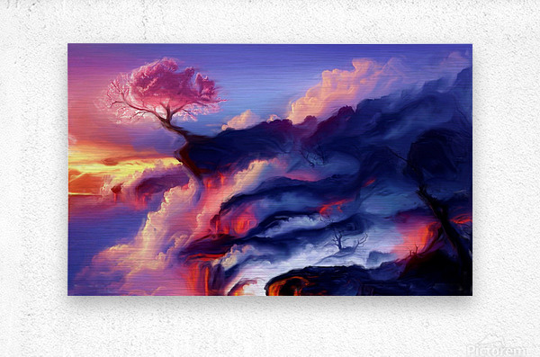 Fiery Mountain  Metal print
