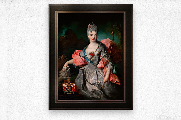 Lady Maria Josefa Drummond by Jean-Baptiste Oudry Classical Fine Art Xzendor7 Old Masters Reproductions  Metal print