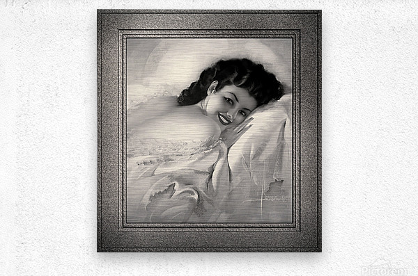 Sweet Dreams by Rolf Armstrong Vintage Illustration Xzendor7 Art Reproductions BW  Metal print