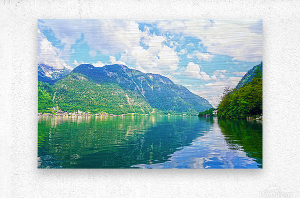 Hallstatt and Grub Castle with Beautiful Reflections in the Waters of Lake Hallstatt  Metal print