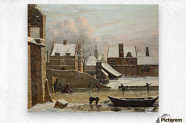 View of a City in Winter with Ice Skaters  Metal print