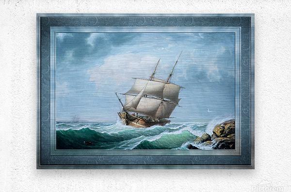 Brig Off the Maine Coast by Fitz Hugh Lane Classical Marine Fine Art Xzendor7 Old Masters Reproductions  Metal print