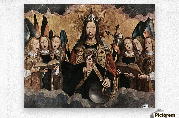 Christ Blessing, central panel from a triptych from the Church of Santa Maria la Real, Najera  Metal print