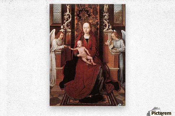 Virgin and Child enthroned with two Angels  Metal print