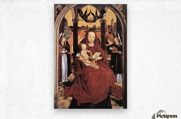 Virgin and Child Enthroned with two Musical Angels  Metal print