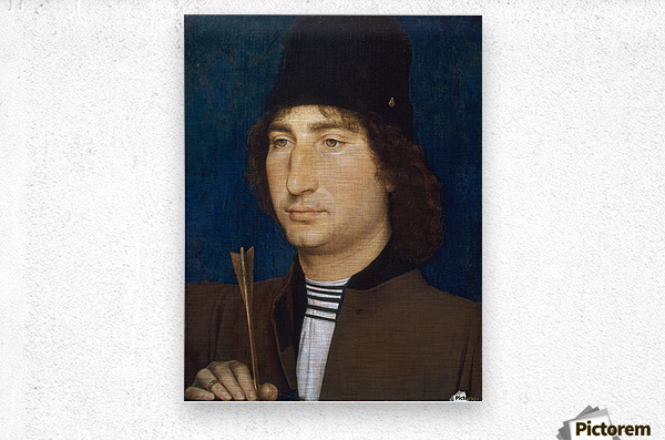 Portrait of a man with an arrow  Metal print