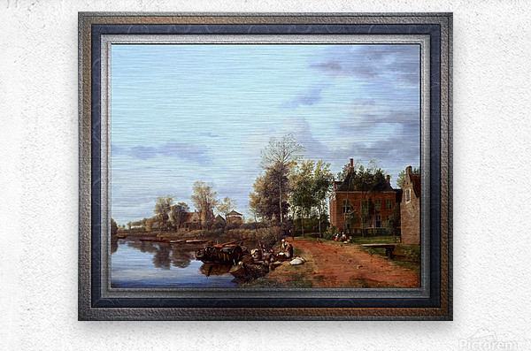 A Country House on the Vliet near Delft by Jan van der Heyden Classical Fine Art Xzendor7 Old Masters Reproductions  Metal print