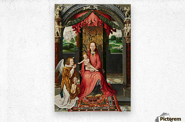 The Virgin and Child with a Musical Angel  Metal print
