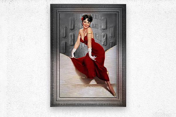 Picture Pretty by Gil Elvgren Classic Xzendor7 Old Masters Reproductions  Metal print