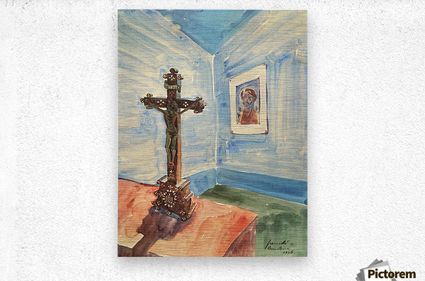 Crucifix in the room by Walter Gramatte  Metal print