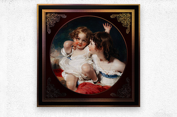 Nature - The Calmady Children by Sir Thomas Lawrence Classical Fine Art Xzendor7 Old Masters Reproductions  Metal print