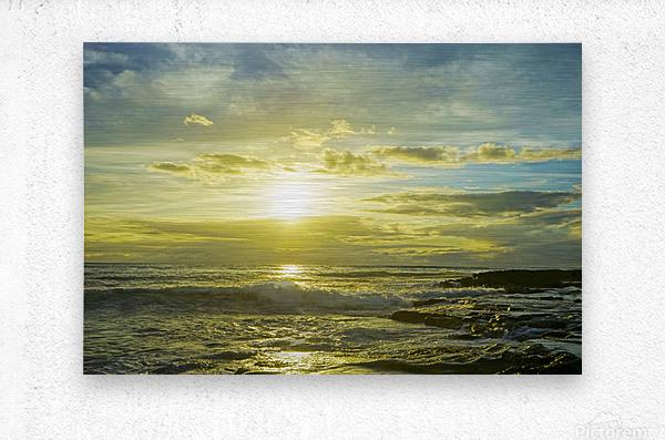The Sun Sets at the Tidal Pools Hawaii  Metal print