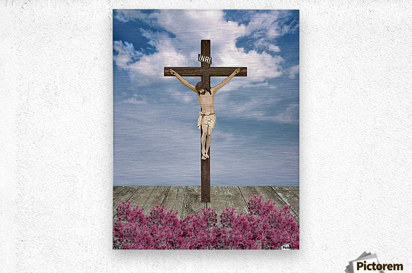 Jesus on the Cross Illustration  Metal print