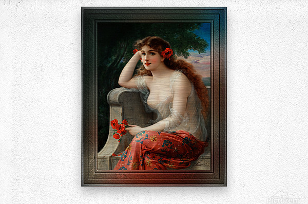 Girl with a Poppy byEmile Vernon Wall Decor Xzendor7 Old Masters Art Reproductions  Metal print