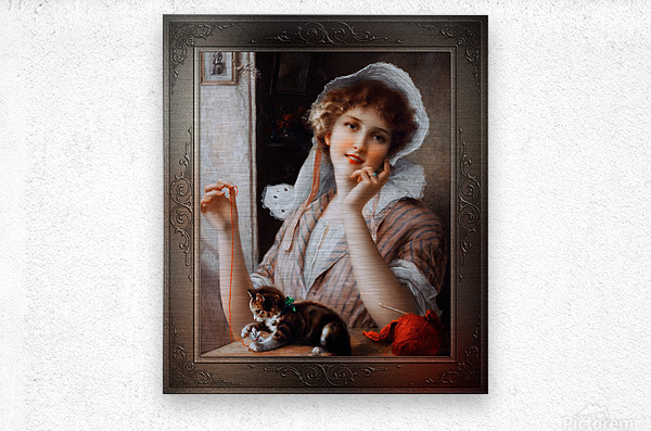 At Play byEmile Vernon Vintage Fine Art Xzendor7 Old Masters Reproductions  Metal print