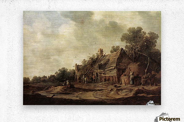 Peasant Huts with Sweep Well1633  Metal print