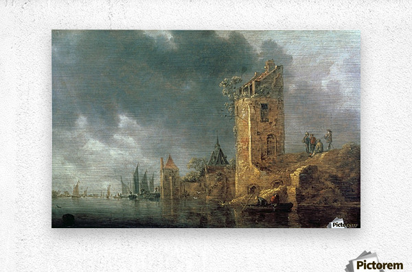 River Scene with Ruined Tower  Metal print