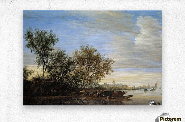 River landscape with ferry Sun  Metal print