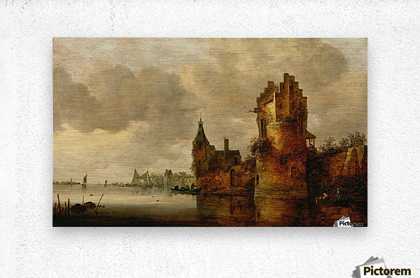 Estuary with Round Tower  Metal print