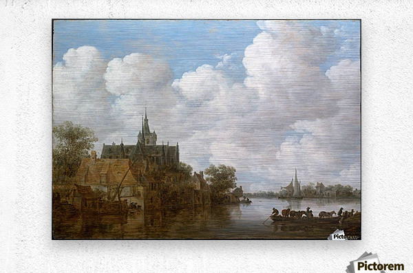 Landscape with a Ferry and a Church  Metal print