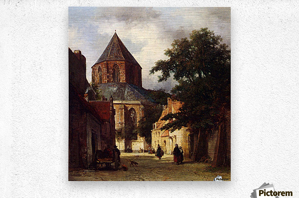Street with Church  Metal print