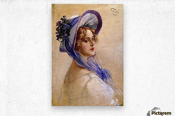 Youbg lady with purple hat  Impression metal