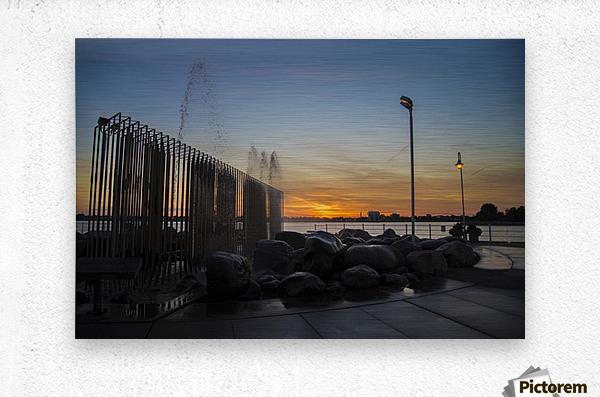 Fountain Sunset  Metal print