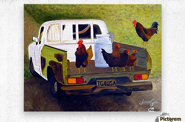 Hitching a Ride to Town  Metal print