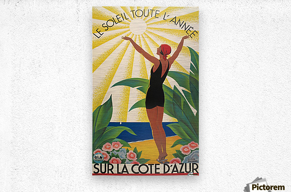 Sun All Year On the Cote dAzur poster in 1931  Metal print