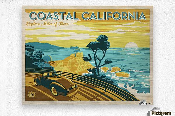 Coastal California travel poster  Metal print