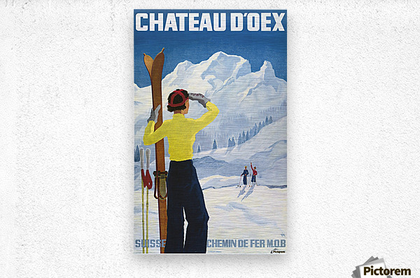 Poster for the village of Chateau dOex in the canton of Vaud in Switzerland  Metal print