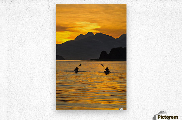 Sea Kayaking on a sublime evening in Lynn Canal near Eagle Beach State Recreation Area, Juneau. Alaska. Chilkat Mountains beyond in the distance.  Metal print