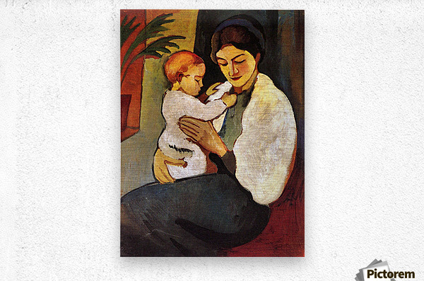 Mother and Child by August Macke  Metal print