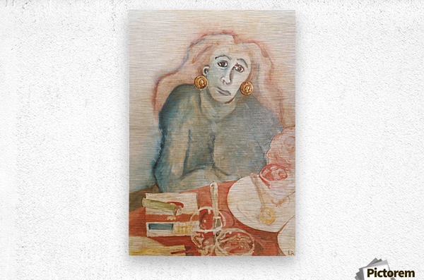 The woman with carnations  Metal print