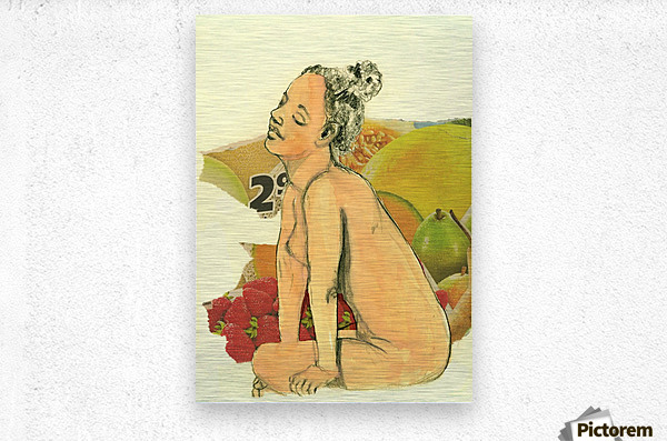 Marie with strawberries  Metal print