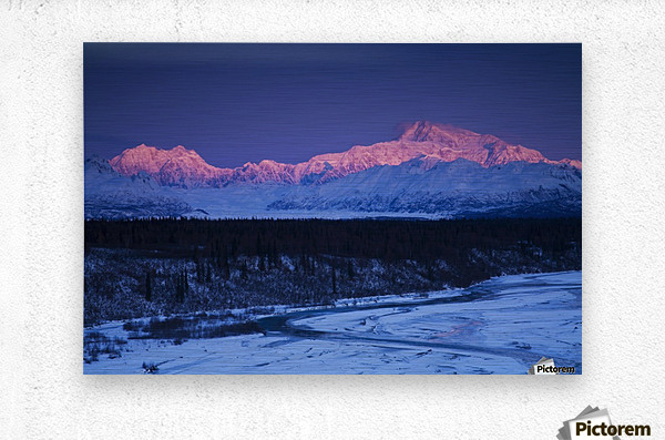 Alpenglow on Mt. McKinley and Mt. Hunter as seen from the Denali South Overlook along the Parks Highway, Denali State Park, Alaska, Winter  Metal print