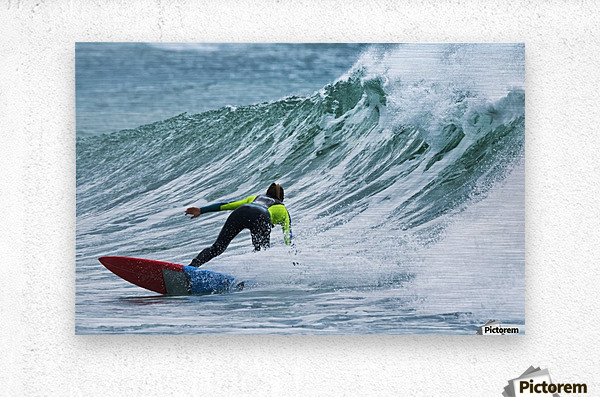 Surfer catching a wave; Tarifa, Cadiz, Andalusia, Spain  Metal print