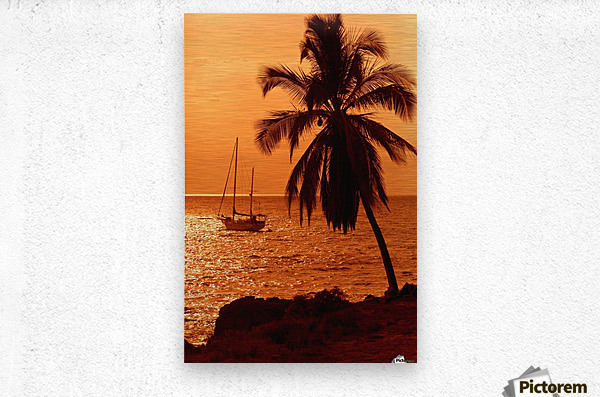 Sailboat and palm tree at sunset; Kihei, Maui, Hawaii, United States of America  Metal print